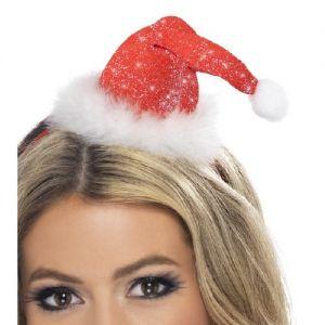 Christmas Mini Santa Hat with glitter on Headband