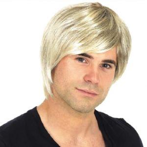 Mens Boy Band Fancy Dress Wig - Blonde