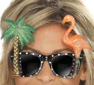 Hawaiian Flamingo Fancy Dress Sunglasses