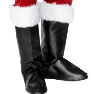 Father Christmas Santa Claus Bootcovers with Faux Fur Trim