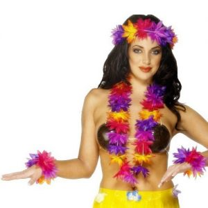 Hawaiian Fancy Dress - Deluxe Lei Set - Pink/Purple/Multi