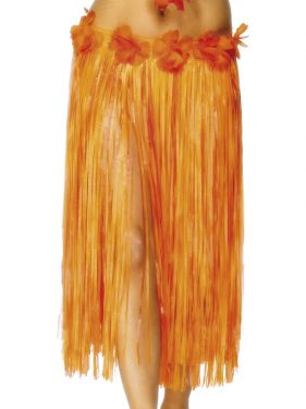 Long Hawaiian Hula Skirt Fancy Dress - Red/Orange