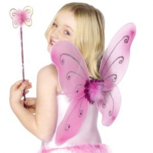 Childrens Butterfly Wings & Wand - Pink