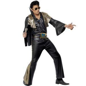 Official Licensed Elvis Black Fancy Dress Costume