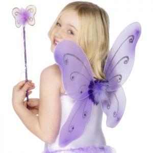 Childrens Butterfly Wings & Wand - Purple