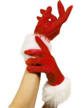 Christmas Fancy Dress Ladies Short Santa Gloves