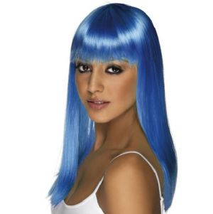 80's Glamourama Wig with Fringe - Neon Blue