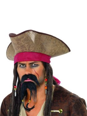 Pirate Fancy Dress Moustashe & Beard Set