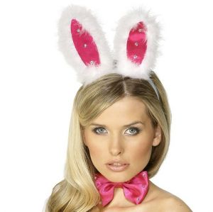 Hen Party Bunny Rabbit Ears Set - White/Pink