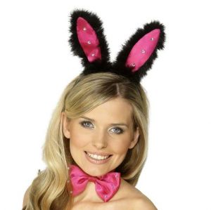 Hen Party Bunny Rabbit Ears Set - Black/Pink
