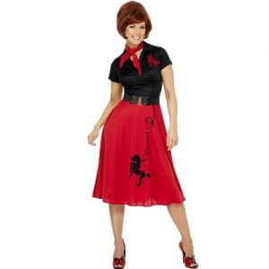 50s Lady Poodle Dress Fancy Dress Costume - Red/Black - M or L
