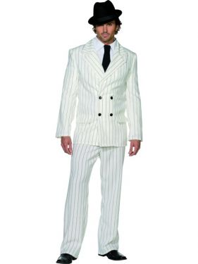 Mens White Zoot Suit Gangster Costume