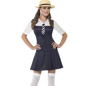 Ladies Schoolgirl Fancy Dress Costume - XS, S, M & L