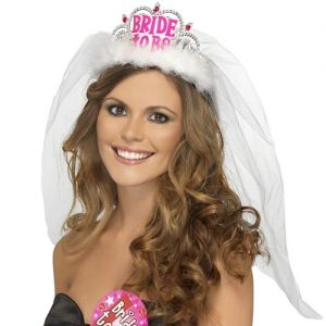Hen Party Bride to Be Tiara with Veil - Silver/White/Pink