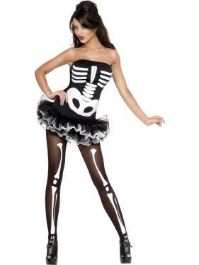 Ladies Halloween Skeleton Print Corset/Tutu Dress