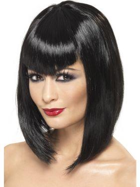 Halloween Vamp Wig with Fringe - Black