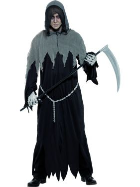 Mens Grim Reaper Costume - Black/Grey