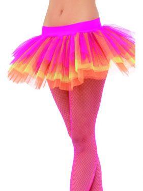 80's Fancy Dress Tutu - Neon Pink/Yellow/Orange