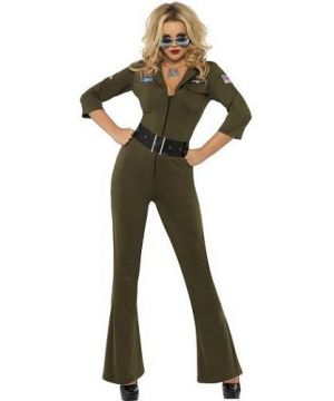1980s Top Gun Hottie Aviator Lady Fancy Dress Costume