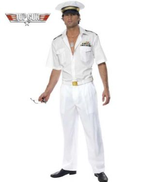 1980s Mens Officially Licensed Top Gun Captain Costume