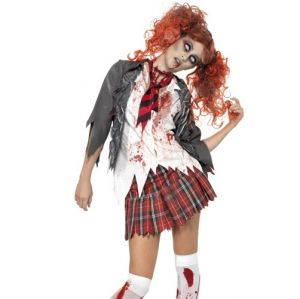 Halloween Fancy Dress Zombie Schoolgirl Costume