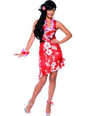 Ladies Fancy Dress - Hawaiian Beauty Costume - Red/White - M