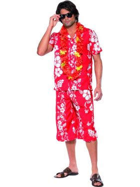 Mens Fancy Dress - Hawaiian Hunk Costume - Red/White - Medium