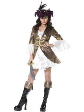 Ladies Sexy Buccaneer Beauty Pirate Costume - S, M & L