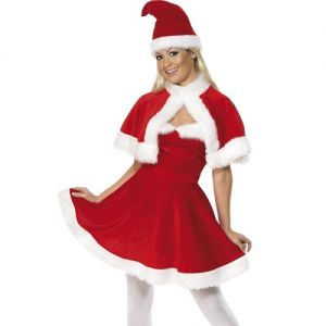 Christmas Ladies Velour Miss Santa Costume & Cape
