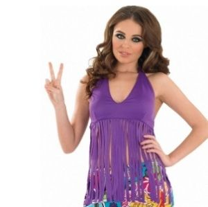 Ladies 60's Hippy Fancy Dress Fringe Top - Purple - S, M, L & XL