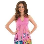 Ladies 60s Pink Hippy Fancy Dress Fringed Top - S, M, L & XL
