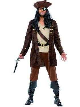 Mens Deluxe Pirate Buccaneer Costume - M & L