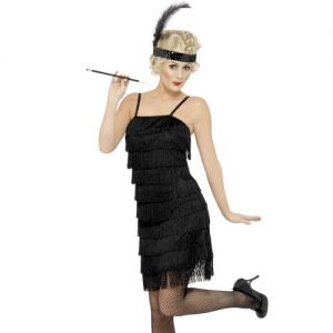Flapper Lady Fancy Dress Costume - Black - S, M, L or XL