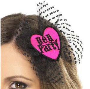 Hen Party Hair Bow - Black/Pink