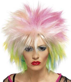 80s Cute Attitude Wig - Multi Coloured