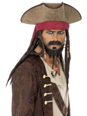 Pirate Fancy Dress Faux Suede Hat with Dreadlocks & Beads