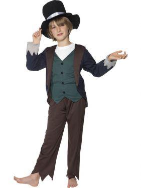 Childrens Fancy Dress - Poor Victorian Boy Dodger Costume - S, M & L