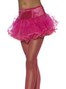 Ladies Fancy Dress - 80s Petticoat Tutu - Pink - One Size