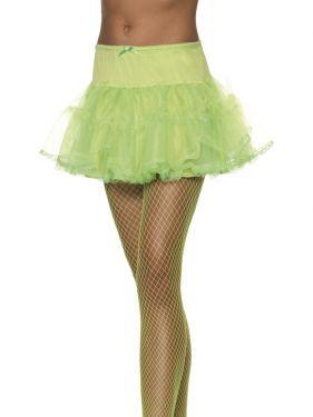 Ladies Fancy Dress - 80s Petticoat Tutu - Green - One Size