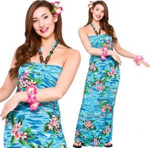 Ladies Hawaiian Girl Maxi Dress Costume