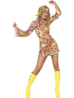 60s 70s Fancy Dress - Hippy Lady Costume Dress - S, M & L