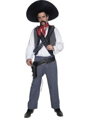 Cowboy Fancy Dress - Authentic Mexican Bandit Costume - M