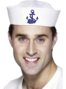 Sailor Fancy Dress US Navy Doughboy Hat - White with Anchor