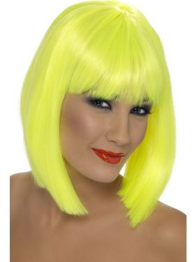 80's Glam Wig with Fringe - Neon Yellow