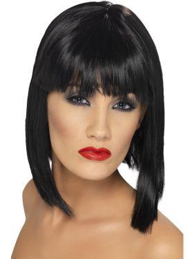 80's Fancy Dress Black Glam Wig with Fringe