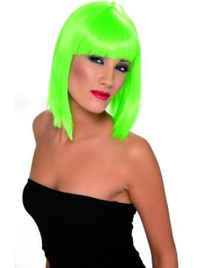 80's Glam Wig with Fringe - Neon Green