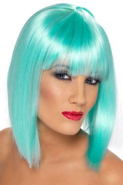 80s Fancy Dress Fringed Glam Wig  - Neon Aqua
