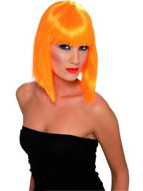 80's Neon Orange Glam Wig with Fringe