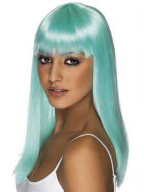 80s Neon Aqua Glamourama Wig with Fringe