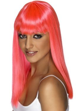 80's Glamourama Wig with Fringe in Neon Pink